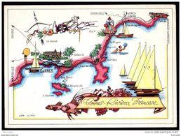 CANNES PORTI E COSTE - CANNES E RIVIERA FRANCESE - ITALIA  SOCIETA' DI NAVIGAZIONE - GENOVA - Nave Ship - Maps