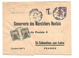 LETTRE DE CARCASSONNE TAXEE A L'ARRIVEE A SAINT SEBASTIEN SUR LOIRE 1961 - Cartas Con Impuestos