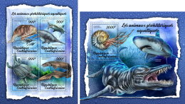 CENTRAL AFRICA 2018 MNH** Prehistoric Water Animals Wassersaurier Animaux Prehistoriqu M/S+S/S - OFFICIAL ISSUE - DH1807 - Prehistorics