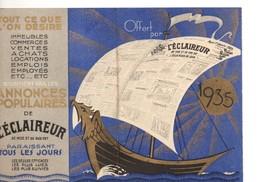 Petit Calendrier  L'éclaireur Du Soir, De 1935, Journal D'annonces Populaires, éclaireur Du Dimanche, éclaireur Agricole - Calendriers