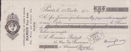 MANDAT PIGIER  TIMBRE HUMIDE ET SEC 1935 COUTELLERIE FINE ET COURS  A RASOIR HAMON FILS AINE PARIS )VOIR PHOTO - Revenue Stamps