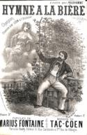 Hymne à La Bière. Chanson. Partition Ancienne, Petit  Format, Couverture Illustrée Donjean. - Partitions Musicales Anciennes