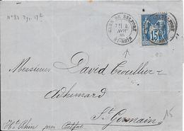 LOT 1802214 - N° 90 SUR LETTRE DE BELFORT DU 4 NOVEMBRE 1886 POUR SAINT GERMAIN - 1877-1920: Semi Modern Period