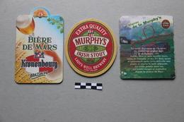 Lot De 3 Sous-Bocks Bière : Kronenbourg, 2 Murphy's - Beer Mats