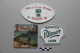 Lot De 3 Sous-Bocks Bière : Coupe D'Europe Rugby 96, St Feuillien, Pilsner - Beer Mats