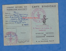 Carte Ancienne Syndicale - Syndicat Nationa Des Pharmaciens Assistants - 1953 - Pharmacie Métier Work - Non Classés