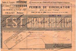 Vieux Papiers De CHEMINS De FER De L'EST - JOINVILLE - Transports