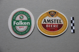 Lot De 2 Sous-Bocks Bière : Falken, Amstel - Beer Mats