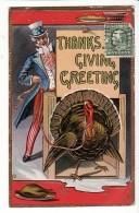 """Carte Gaufrée Américaine """"Thanksgiving Greeting"""" / Grâce De La Dinde Par Le Président / USA - Thanksgiving"""