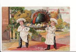 "Carte Gaufrée Américaine ""Thanksgiving Greeting"" / Dinde / USA - Thanksgiving"