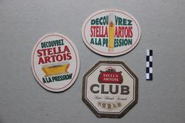 Lot De 3 Sous-Bocks Bière : Stella Artois - Beer Mats