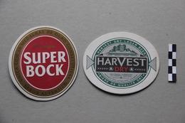 Lot De 2 Sous-Bocks Bière : Super Bock, Harvest - Beer Mats