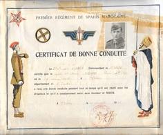 """DIPLOME  """" Certificat De Bonne Conduite """" Premier Régiment De Spahis Marocains - Diploma & School Reports"""