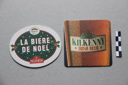 Lot De 2 Sous-Bocks Bière : Pelforth La Bière De Noël, Kilkenny - Beer Mats