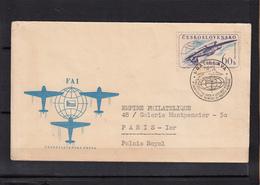 """Tcecoslovaquie    Lettre 1960 """" Championnat Du Monde D' ACROBATIE """"  Pour PARIS Timbre Identique Recto Verso - Tschechoslowakei/CSSR"""
