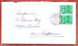 Trauerbrief, MeF Expo Lausanne, SoSt Leukerbad, Nach Schaffhausen 1964 (46824) - Suisse