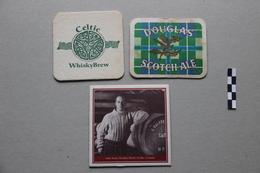 Lot De 3 Sous-Bocks : Celtic Whisky Brew, Douglas Scotch Ale (bière), Johnnie Walker (whisky) - Beer Mats