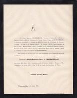 VILLERS-SUR-MER CALVADOS Blanche De CHATEAUBRIAND 28 Ans 1871 Famille De QUELEN D'ELVA Lettre Mortuaire - Décès