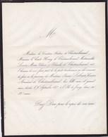 Ile De JERSEY Jeanne LEBRUN Comtesse Armand De CHATEAUBRIAND 82 Ans 1857 Lettre Faire-part Mortuaire - Décès