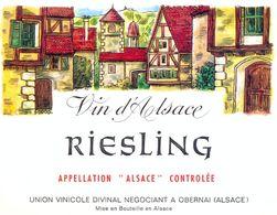 1 Etiquette Ancienne De VIN - RIESLING  VIN D'ALSACE - UNION VINICOLE DIVINAL OBERNAI - Riesling