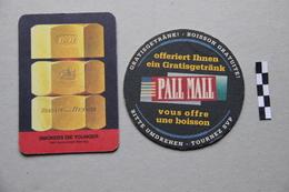 Lot De 2 Sous-Bocks (cigarettes) : Benson And Hedges, Pall Mall - Beer Mats