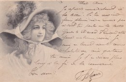 Illustration Wichera Belle Jeune Fille Avec Chapeau 1903 Precurseur - Wichera