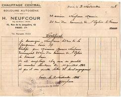 VP11.871 - Facture - Chauffage Central H. NEUFCOUR à PARIS & Carte De Visite Ch. NEUFCOUR à NEUILLY -  PLAISANCE - Electricity & Gas