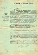 VP11.874 - 1933 - CHARENTON - LE - PONT - Citation En Simple Police - Mr M. NEUFCOUR Au PERREUX - Police & Gendarmerie