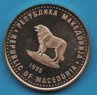 MACEDONIA 1 DENAR 1945-1995 FAO FIAT PANIS KM# 5 DOG CHIEN - Macedonia