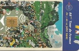 CARTE°-PUBLIC-50U-F1141A-SO6-06/01-TOUR DE FRANCE-AFFICHE-UTILISE E-TBE - France