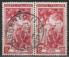 # Italia Al Lavoro 35 Lire Ruota 1 DB - Coppia - SORRENTO (NAPOLI) 26-7-52 - 6. 1946-.. Repubblica