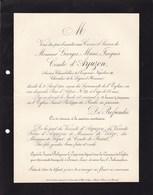 EVREUX EURE Georges Comte D'ARJUZON Ancien Chambellan Napoléon III 65 Ans 1900 Marquis De SEGUR - Décès