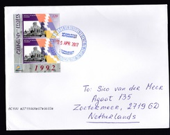 Armenia - Nagorno Karabakh: Cover To Netherlands, 2017, 2 Corner Stamps, War-torn Church, Rare Real Use! (traces Of Use) - Armenië