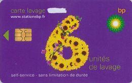 # Carte A Puce Portemonnaie  Lavage BP - Fleur - Violet - 6u - Puce2? - Offerte Gratté - Tres Bon Etat - - Frankrijk