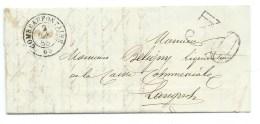MP COMBEAUFONTAINE HAUTE SAONE  /  POUR LANGRES / 1858 / TAXE 30 DOUBLE TRAIT - Marcophilie (Lettres)