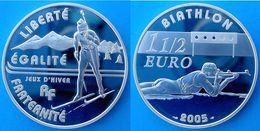 FRANCE 1,5 E 2005 ARGENTO PROOF SILVER FRANCE EURO JEUX D'HIVER BIATLON GIOCHI D'INVERNO PESO 22,2g TITOLO 0,900 CONSERV - France
