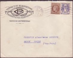 ENVELOPPE TIMBRE 1946 MONTCEAU LES MINES - Postmark Collection (Covers)