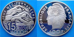 FRANCE 100 F 1993 ARGENTO PROOF JEUX MEDITERRANEENS 15 ECU SWIMING PESO 22,2g TITOLO 0,900 CONSERVAZIONE FONDO SPECCHIO - N. 100 Francs