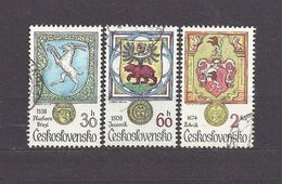 Czechoslovakia Tschechoslowakei 1979 Gest ⊙ Mi 2507, 2508, 2511 Sc 2240, 2241, 2244 Animals In Heraldry. Städtewappen - Czechoslovakia