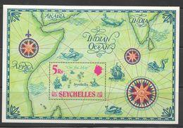 1971  Map Showing Location Of Seychelles Souvenir Sheet  MNH ** - Seychelles (1976-...)