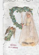 CPA Souvenir De 1ère Communion Communiante Découpi Ajouti Collage Tissu Paillettes Ange Angelot Angel - Christianity