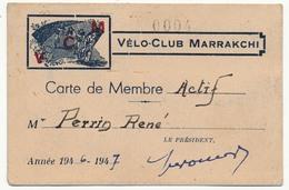 MARRAKECH (MAROC) - Carte De Membre Actif - Vélo Club Marrakchi - 1947 - Wielrennen