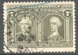 1908  Quebec Tercentenary  7 Cent  Sc 100  Very Good Centering  Light CDS Cancel - Oblitérés