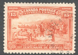 1908  Quebec Tercentenary  15 Cent  Sc 102  Very Good Centering  Light CDS Cancel - Oblitérés