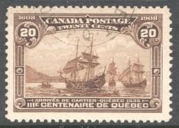 1908  Quebec Tercentenary  20 Cent  Sc 103  Very Good Centering  Light CDS Cancel - Oblitérés