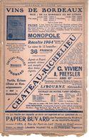 Buvard Publicitaire  Pour Les Vins De Bordeaux En 1911 - Agriculture