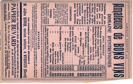 Buvard Publicitaire  Pour Les Vins Du Domaine D'entrevignes En 1914 - Agriculture