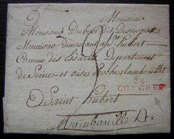 """1806 Conches (Eure) Marque 26/CONCHES Rouge ( """"origine Rurale"""" Identifiable) Lettre Pour Saint Hubert Près Rambouillet - Poststempel (Briefe)"""