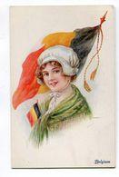 CPA   Illustrateur  : Jeune Femme Au Drapeau  Belgique   Militaria    A  VOIR  !!!!!!! - 1900-1949