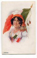 CPA   Illustrateur  : Jeune Femme Au Drapeau  ITALIE   Militaria    A  VOIR  !!!!!!! - 1900-1949